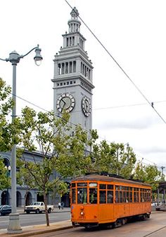 A vintage trolly outside the Ferry Building on The Embarcadero