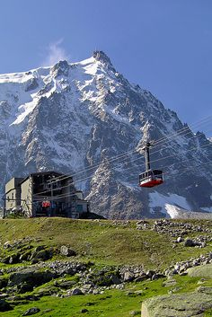 Plan de l'Aiguille, Chamonix, France. This is the halfway point of the gondola ride to l'Aiguille du Midi that you see way at the top. You stop here on your way up or down and walk along several beautiful hiking paths. You may have to share them with a couple of wild donkeys though!