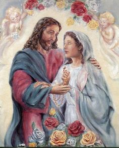 Catholic Art, Catholic Saints, Religious Art, Catholic Pictures, Pictures Of Jesus Christ, Jesus And Mary Pictures, Mary Magdalene And Jesus, Mary And Jesus, Rosary Drawing
