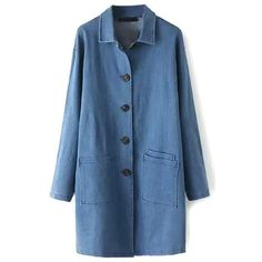 Plain Single Breasted Pockets Lapel Denim Long Coat (230 CNY) ❤ liked on Polyvore featuring outerwear, coats, blue coat, lapel coat, blue long coat, long coat and longline coat