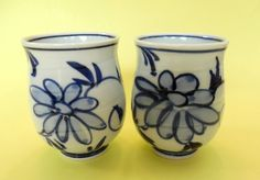 Pair JAPANESE TEA CUPS Traditional Blue White Scrolled Floral Signed on Bottom Vintage Porcelain Pottery Japan Set of Two Characters Gray by MADONNASCOLLECTIBLES on Etsy