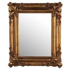 """Wall mirror with a classic frame.Product: Wall mirrorConstruction Material: Wood and mirrored glassColor: GoldFeatures: Can be hung horizontally or verticallyDimensions: 23"""" H x 19"""" W x 2"""" D Cleaning and Care: Wipe clean with damp cloth"""