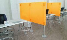 Schreibtisch Trennwand 1,50 Höhe Acrylglas orange-gefrostet