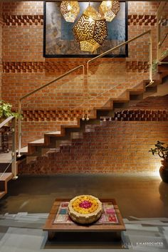 Today's Project: Penthouse Apartment Which Amalgamates Contemporary With Tradition Home Stairs Design, Railing Design, Home Room Design, Stair Railing, Home Interior Design, Interior Decorating, House Design, Brick Architecture, Interior Architecture