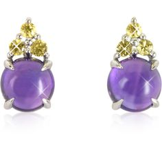 Mia & Beverly Designer Earrings Amethyst and Yellow Sapphires 18K... ($875) ❤ liked on Polyvore featuring jewelry, earrings, 18k white gold earrings, 18 karat gold earrings, 18k white gold jewelry, cluster earrings and white gold jewellery