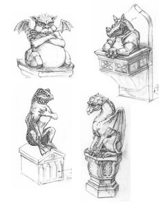 Stone gargoyles provide information and entertainment throughout the labyrinth. Concept sketch by Maggie Parr (© Walt Disney Imagineering