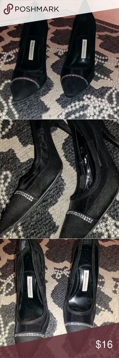 Dana Buchman Heels Adorable black heels with see through sides  and faux stones, perfect for a date night outfit. Dana Buchman Shoes Heels