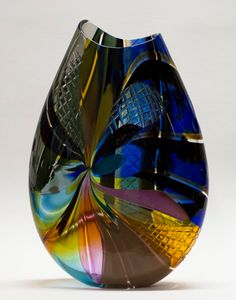 Art-Glass Vessel by Jeffrey Pan Leaded Glass, Stained Glass, Olive Oil Bottles, Blown Glass Art, Shattered Glass, Glass Artwork, Glass Vessel, Stone Art, Amazing Art