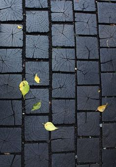 Black painted wood block path as a paver stone alternative! Genius!