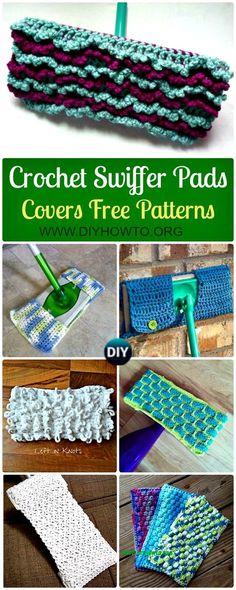 A list of Knit n Crochet Swiffer Pads&Covers Free Patterns: Crochet Swifter pads, Swiffer Covers, Sock, Cardi, Swiffer Dusting Cover, via @diyhowto