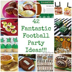 42 Fantastic Football Party Ideas, Food, games, printables, and fun!...I love that it includes game ideas for kids!