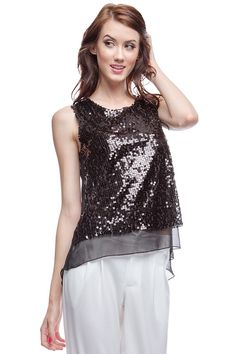 Sequined Charlie Chiffon Top