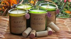 Beautiful Hand crafted Soy wax candles in recycled wine bottles. Our candles are made with soy wax and scented with pure fragrance oils. Wine Bottle Candles, Recycled Wine Bottles, Wine Bottle Crafts, Jar Candle, Recycled Glass, Wine Glass, Soy Wax Candles, Scented Candles, Soy Candle Making
