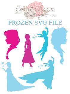 SVG Frozen Anna/Elsa Silhouettes File by CoralCharmBoutique, $5.25