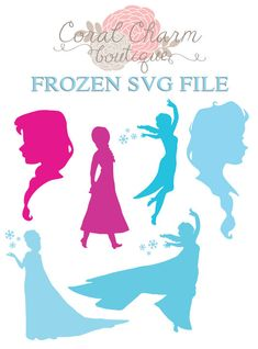 SVG Frozen Anna/Elsa Silhouettes File by CoralCharmBoutique, $5.25