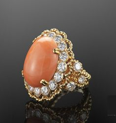 go back Angel Skin Coral and Diamond Ring by Van Cleef & Arpels NY, circa 1960s