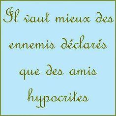 Il vaut mieux des ennemis déclarés que des amis hypocrites