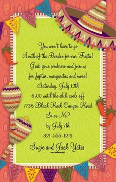 Invitations Mexican Party Fiesta Birthday Themes 80th