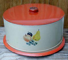 Vintage Metal Stenciled Cake Carrier / Cake Saver 1950s | eBay