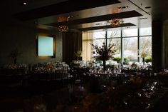 Wedding reception at the Ritz Carlton Boston, a modern venue in the city.