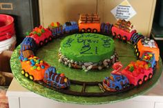 m&ms Bake leftover cake batter in pan, cut into train cars and decorate! Train Cake using Wm-Sonoma pan. Trains Birthday Party, Train Party, 5th Birthday, Birthday Cakes, Birthday Ideas, Fondant Letters, Cakes Plus, Torte Cake, Choo Choo Train