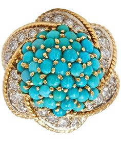 Fabulous Turquoise and Diamond Gold Ring. Circa 1950s