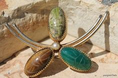 Vintage 1/20 12k Yellow Gold Filled and Gemstone Egyptian Revival Scarab Beetle Brooch Pin