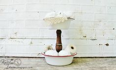 Tiered Metal Stand - Created from Vintage Enamelware and Chair Spindle by…