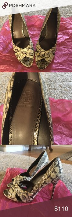Tory Burch Amira Rocco's Snakeskin Pumps Self covered heel 4 1/4 inch heel height. Genuine snakeskin upper/leather lining and sole/padded insole. Gold metal logo on out soul. Worn once. Beautiful condition. Tory Burch Shoes Heels