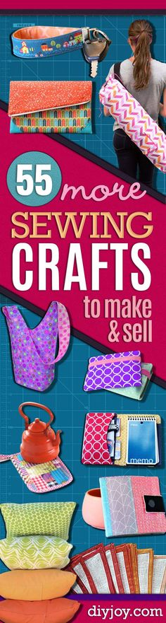 Sewing Crafts To Make and Sell - Easy DIY Sewing Ideas To Make and Sell for Your Craft Business. Make Money with these Simple Gift Ideas, Free Patterns, Products from Fabric Scraps, Cute Kids Tutorials http://diyjoy.com/crafts-to-make-and-sell-sewing-ideas