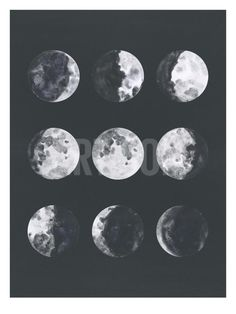 size: Stretched Canvas Print: Moon Phases Watercolor Ii by Samantha Ranlet : Using advanced technology, we print the image directly onto canvas, stretch it onto support bars, and finish it with hand-painted edges and a protective coating. Moon Painting, Painting Edges, Watercolor Moon, Tattoo Watercolor, Framed Artwork, Wall Art, Framed Wall, Moon Art, Moon Phases Art