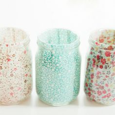 Cover the inside of jars with the fabric of your choice to make cute little candle votives!