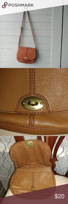 Fossil crossbody handbag. An authentic Fossil Long Live Vintage Brown, cow hide leather, crossbody handbag, pre-loved & in great condition as seen on pics. Second picture shows the actual color. Excellent add to ur closet. Fossil Bags Crossbody Bags