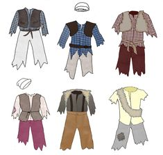 Costume sketch-ups with fabric patterns.