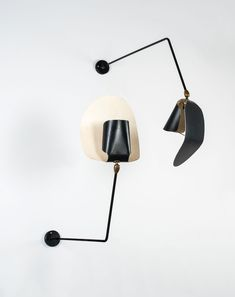 Serge Mouille; Enameled Metal and Brass Wall Lights, 1953.