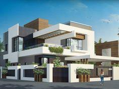 Modern Exterior House Designs, Best Modern House Design, Modern Villa Design, Modern Interior Design, Exterior Design, Bungalow House Design, Modern Bungalow, House Front Design, House Architecture Styles