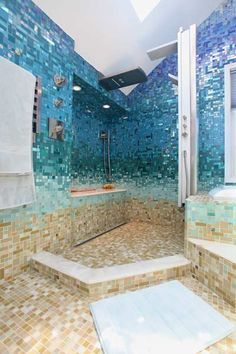 Glass Tile Bathroom Photos at Susan Jablon we will using this pattern on three walls of lobby .fourth wall ocean wall,will be pine similar to lobby. Dream Bathrooms, Beautiful Bathrooms, Small Bathrooms, Glass Tile Bathroom, Ocean Bathroom, Glass Tiles, Tile Bathrooms, Glass Shower, Bathroom Wall
