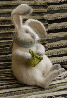 MontanaRosePainter white bunny with lettuce