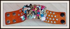 COWGIRL ATTITUDE CUFF Dress Crown Horse Pistol Music Turquoise Pink Rhinestone Collage Leather Bracelet Cowgirl Style Outfits, Rodeo Outfits, Cowgirl Fashion, Pink Turquoise, Turquoise Jewelry, Leather Cuffs, Brown Leather, Gypsy Clothing, Fashion Ideas