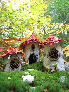 Leaf roofs fairy houses from autumnal leaves great little homes for woodland elf or pixie , nice art and craft make for kids , school or adult doll house maker , great eco craft for garden decoration or window sill in grimm and fairy or gypsy home......here there be fairies