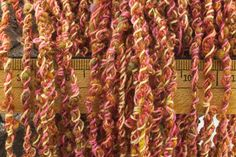 Pink and Yellow Handspun Art Yarn - 26 yards of a original textural craft supply - $39.00 - Handmade Handmade Supplies, Crafts and Unique Gifts by QuirkyBits-n-Pieces