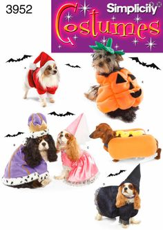 DOG Halloween Costume Sewing Pattern - Pumpkin Hot Dog Witch King & More Pet Costumes - Small Dogs ~ SOLD!