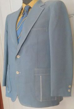 Vintage Johnny Carson Sport Coat Men s Powder Blue Union Made 39R Horse Lining