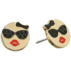Kate Spade New York Tell All Sunglasses Emoji Studs Earrings ($48) ❤ liked on Polyvore featuring jewelry, earrings, kate spade, kate spade jewelry, stud earrings, pave earrings and pave jewelry