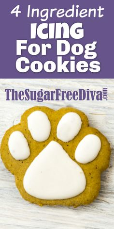 4 Ingredient Icing for Dog Cookies My dogs love when I make them yummy cookies and treats. This recipe for icing is perfect for making those yummy pet treats even better. Dog Cookie Recipes, Dog Biscuit Recipes, Dog Treat Recipes, Dog Food Recipes, Doggie Cookies Recipe, Dog Treat Cookie Recipe, Dog Treat Icing Recipe, Sweet Recipes, Party Recipes