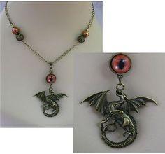 Burnished Gold Celtic Dragon Eye Necklace