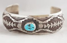 Fine Sterling SIlver Turquoise Cuff Navajo Rug  Design signed RB Richard S Begay #HandCrafted