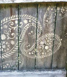 Stencil design added to fence.  Stencil is Vintage Paisley Stencil from cuttingedgestencils.com