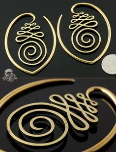 Solid brass Unalome hoops