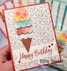 Create Birthday Card, Happy Birthday Cards Handmade, Ice Cream Theme, Ice Cream Party, Handmade Ice Cream, Fabric Cards, Sweet Cupcakes, Beautiful Handmade Cards, Origami Easy